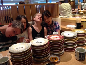 In a sushi coma. The Waugh kids and cousins after a sushi feast.
